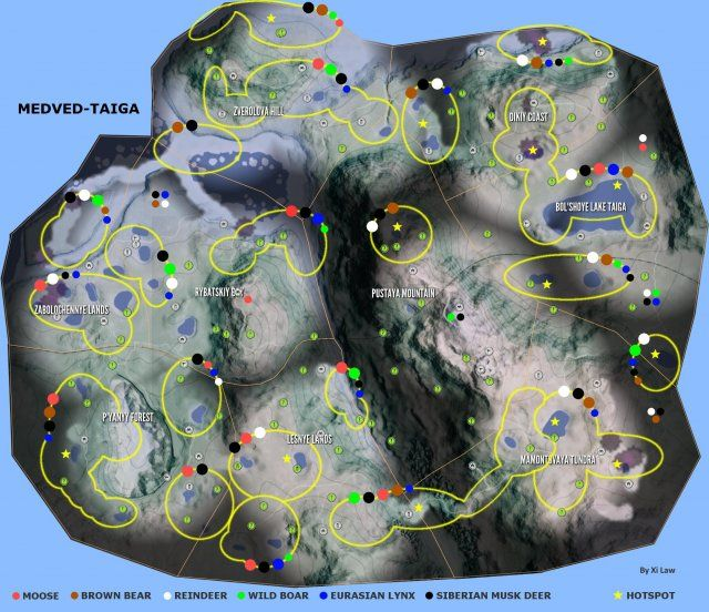 carte the hunter call of the wild The Hunter: Call of the Wild   Animal Locations Map | Call of the