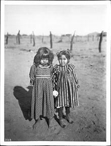 Two young Pima Indian school girls, ca. 1900.