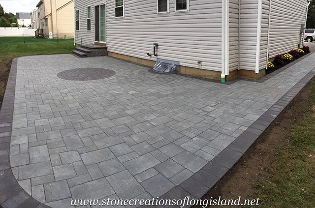 Simple Yet Elegant Cambridge Pavers Bluestone Blend W Onyx Trim Huntington Ny 11743 Only