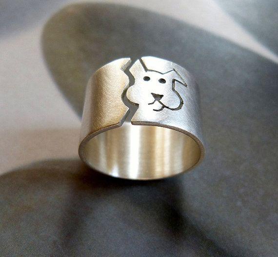 Anillo perro anillo de plata esterlina banda ancha pet por Mirma