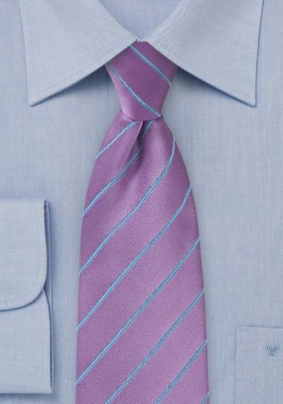 Krawatte Business-Streifen blasslila taubenblau