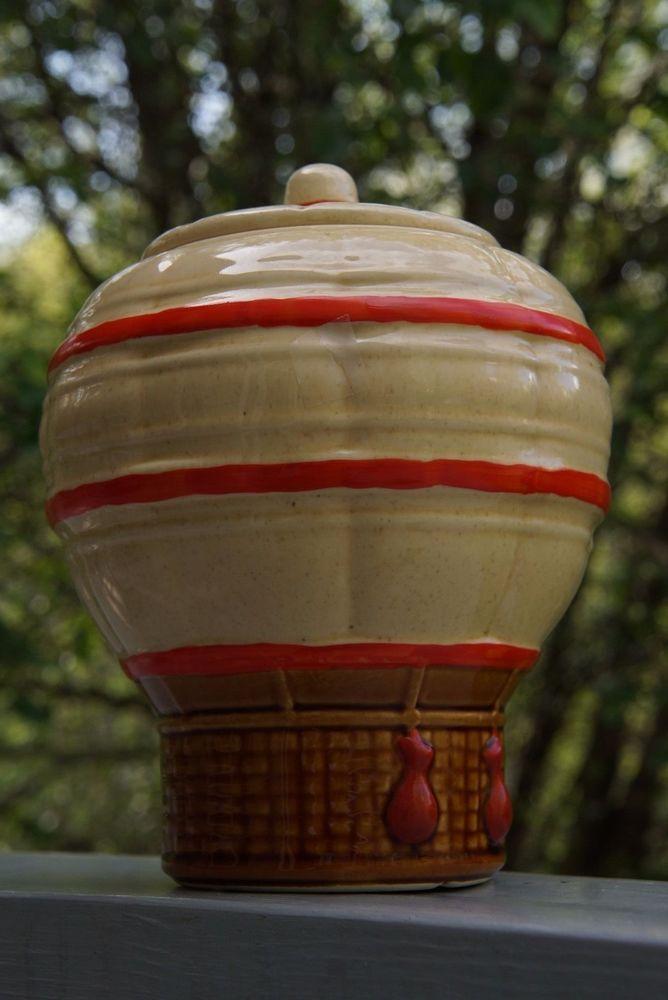 Vintage Retro McCoy Ceramic Hot Air Balloon Cookie Jar - Mint