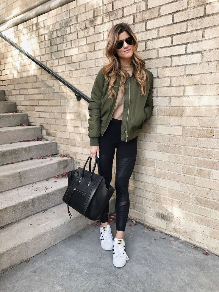 sportswear lux trend, moto AYO leggings, adidas allstar sneakers, topshop olive green moto jacket, celine phantom bag, casual chic outfit, bomber jacket outfit
