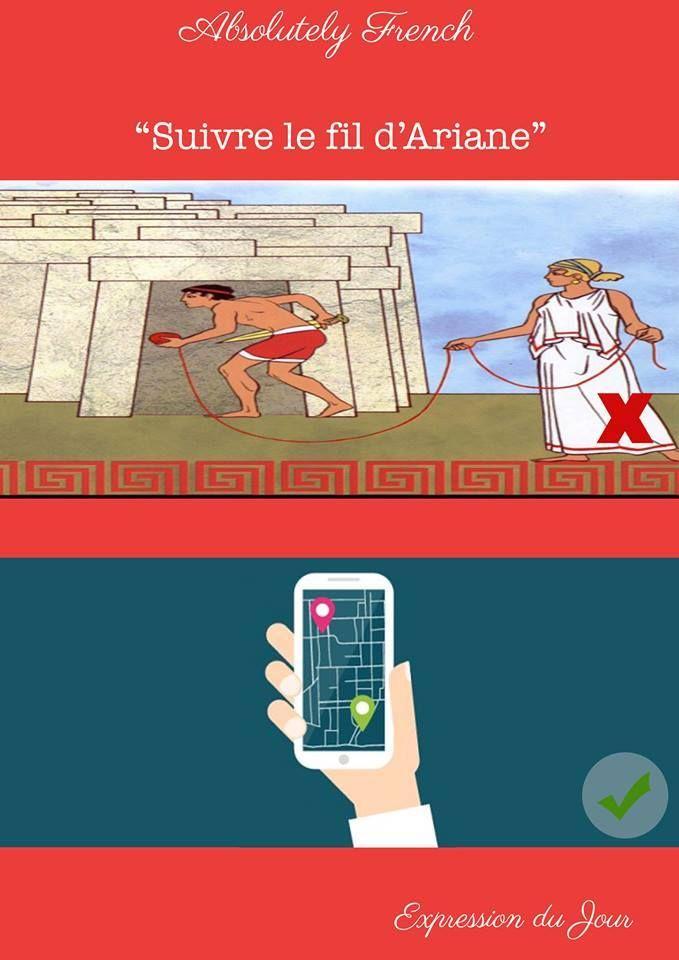 """""""Cette ville est un vrai labyrinthe. Il faut suivre le fil d'Ariane"""" #suivrelefildariane #expressiondujour #Expression #Quotidienne #Française #French #Daily #Learn #Apprendre #Français #French #School #Absolutely #French"""