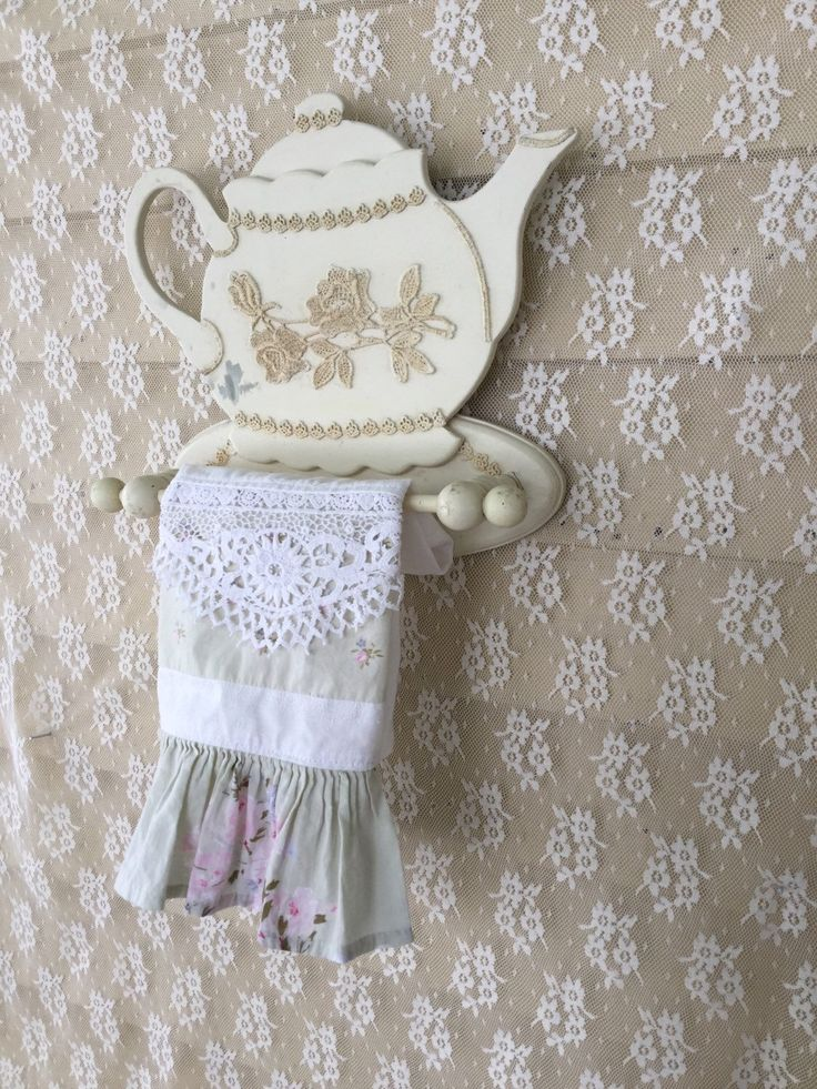 Shabby Chic Teapot Shaped Towel Holder Tea Bar Kitchen
