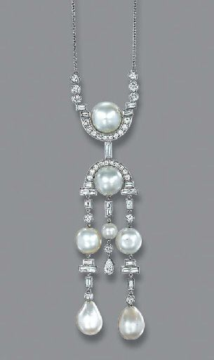 A PEARL AND DIAMOND NECKLACE Of geometric design, the central pearl with diamond surround suspending three graduated diamond and pearl tassels to the surmount of similar design and fine-link neckchain, 39.8 cm. long. Art Deco or Art Deco style.