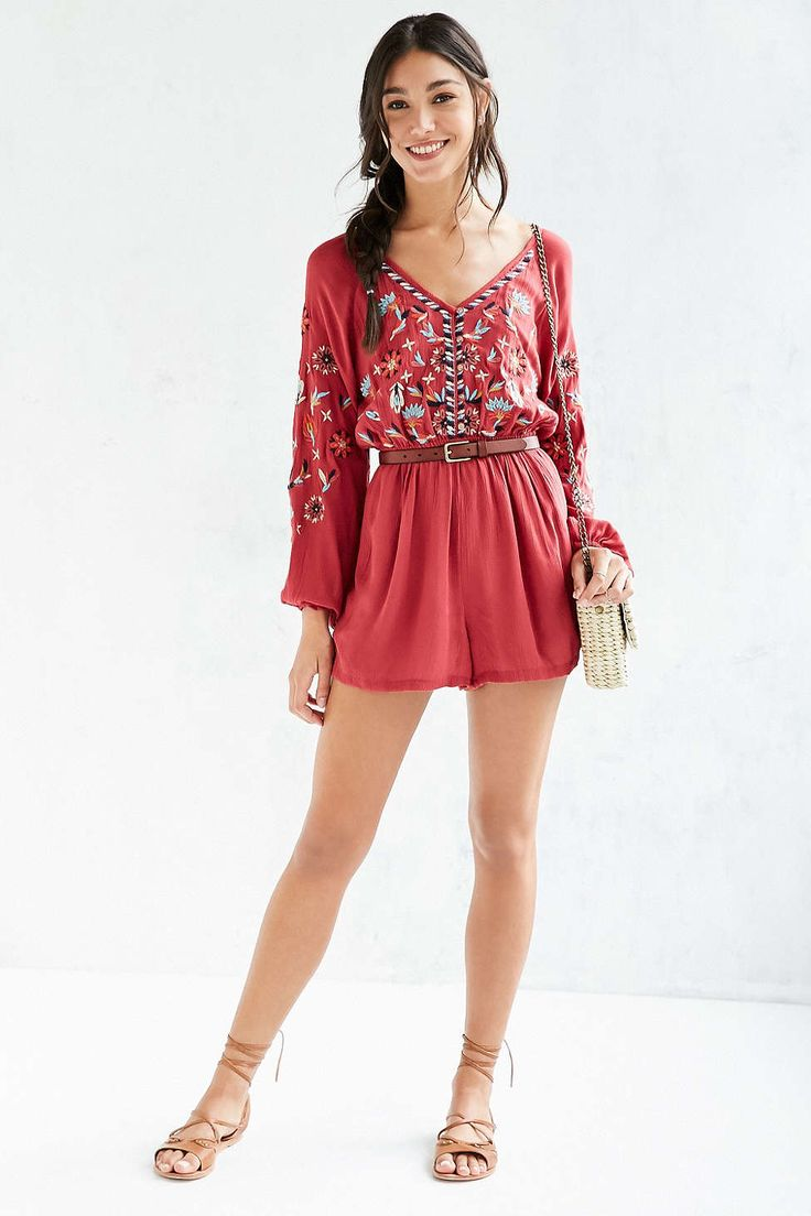 Ecote Embroidered Balloon-Sleeve Romper