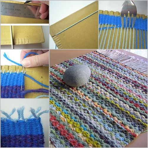 How to DIY Woven Rug with Cardboard and Fork