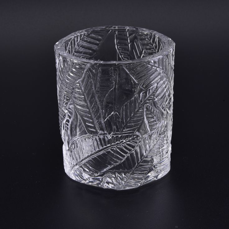Newly unique debossed leaf clear glass candle making machine holder popular wholesale