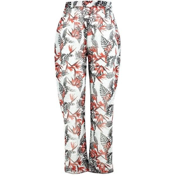 Boohoo Plus Georgie Tropical Print Beach Trouser ($20) ❤ liked on Polyvore featuring pants, white pants, white trousers, beach trousers, white beach pants and tropical print pants