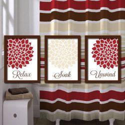 Red Beige Bathroom Wall Art Artwork Relax Soak Unwind Ivory Brown Dahlia  Flower Set Of 3