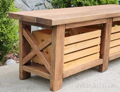 Build an X-leg outdoor wooden bench, complete with crates for storage, for under $40!
