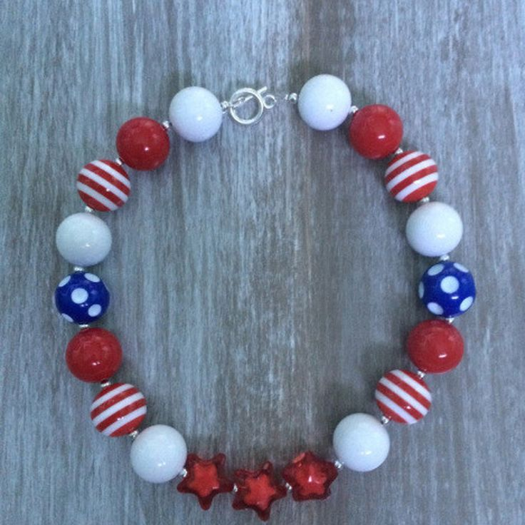 Red, White and Blue Little Lady Necklace