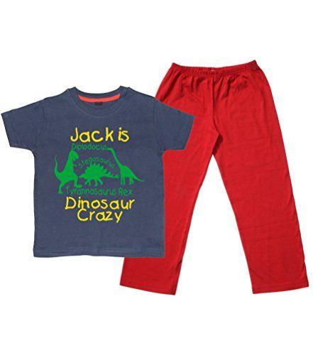 Children's Navy T-Shirt & Red Long Pants Pyjama Set 'PERSONALISED DINOSAUR CRAZY' with Yellow & Green Print.