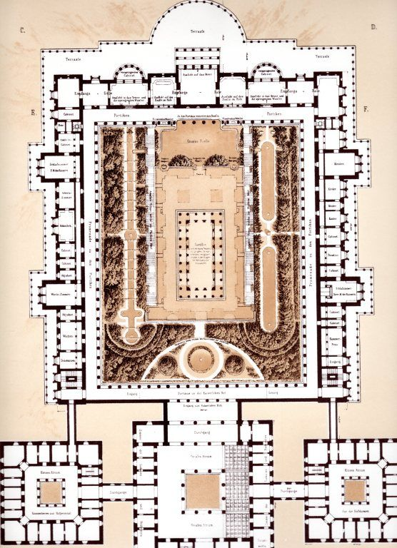 Orianda palace floor plan grundriss 1838 never built for Palace plan