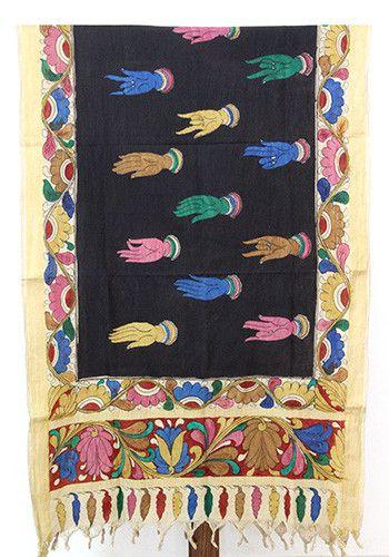 Pen Kalamkari Dupatta with mudras – Desically Ethnic #Pen Kalamkari #Dupatta