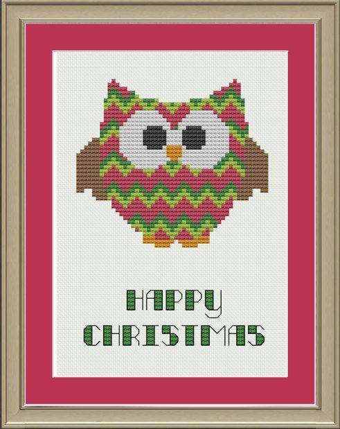 Owl Christmas chevron stripes: cute cross-stitch pattern. $3,00, via Etsy.