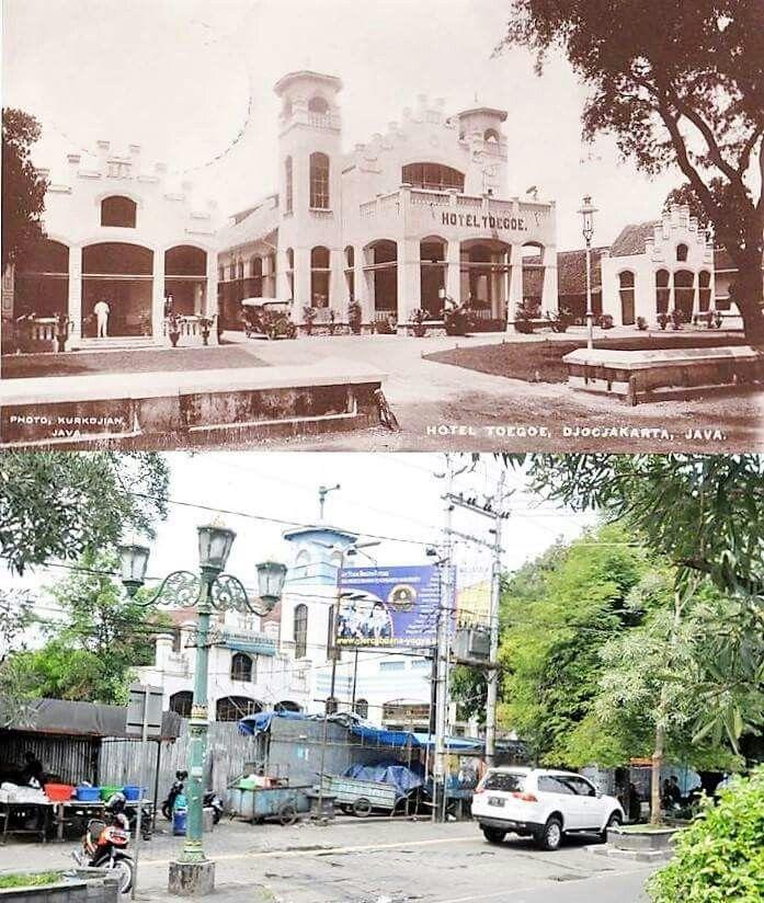 Pemandangan depan Hotel Tugu, Yogyakarta (1930 dan 2015)