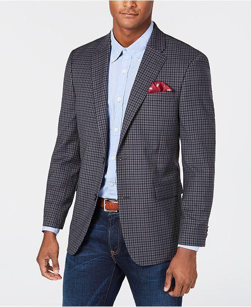 ee556ba1cf6d Tommy Hilfiger Men Modern-Fit THFlex Stretch Gray/Navy Check Sport Coat in  2019   Graham styling   Mens sport coat, Sport Coat, Blazers for men
