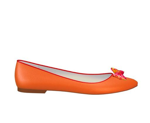 Orange ballet flat with hot pink detailing. I obviously have a love of orange shoes, and I also love the bow in the abstract flower patterned fabric that includes the colours of both the shoe and the trim.