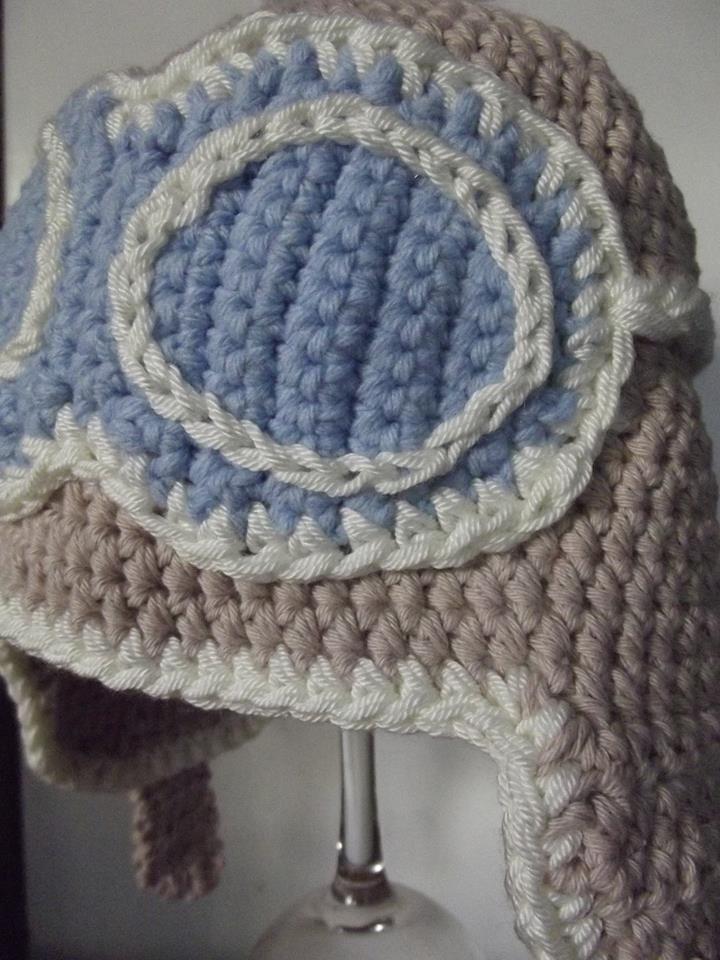 gorrito bebé aviador, en algodón tejido a crochet