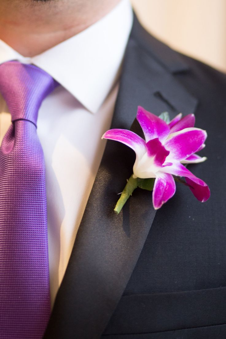 Radiant orchid boutonniere (Shay and Olive)
