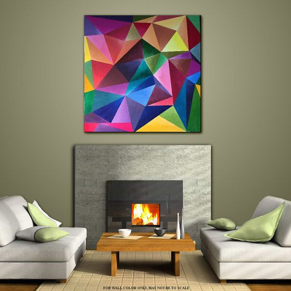 wall art painting original acrylic geometric contemporary home decor abstract modern large multicolored red green title crystal colors - Tableaux Abstraits Colors