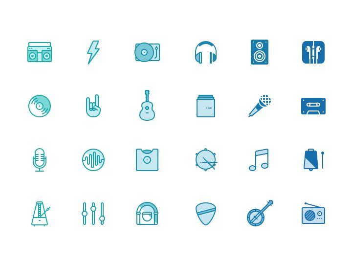 Paquete de iconos PSD de música graits
