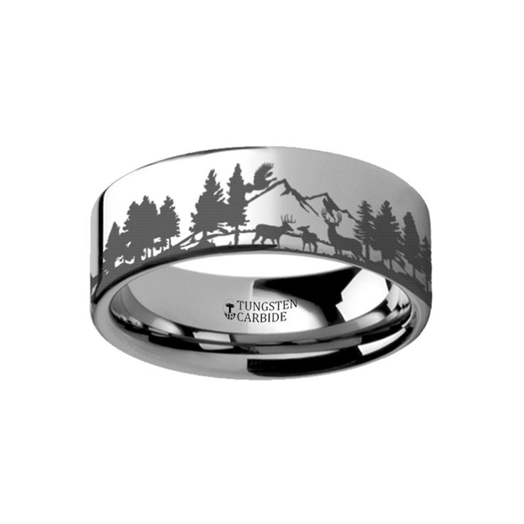 Animal Landscape Scene Reindeer Deer Stag Mountain Range Ring Engraved Flat Tungsten Ring - 4mm - 12mm