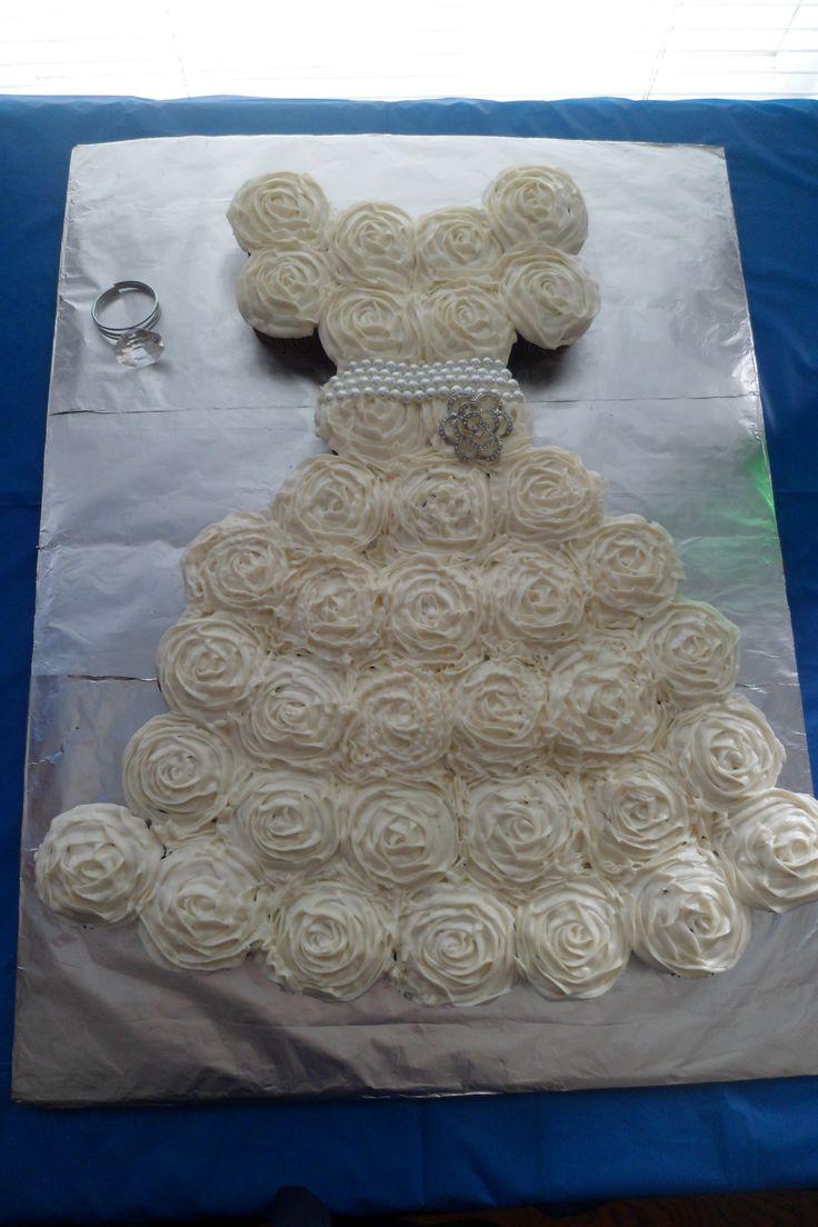 DIY Bridal Shower Cake-  Wedding Dress Cupcakes. Red Velvet. I made this for a friend!