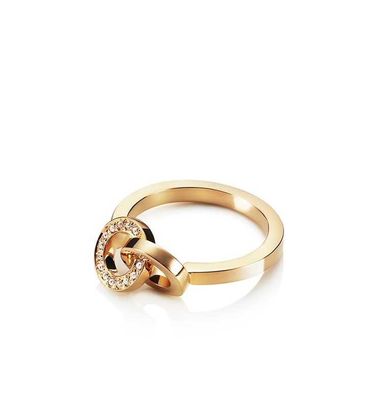 Efva Attling - You & Me - $1,555. Gold or white gold ring with a small connected ring set with diamonds.