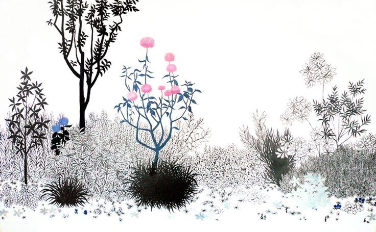 須藤由希子 | 植え込み 1 2007 Oil, pencil and plaster on canvas 89.7 x 145.5 cm