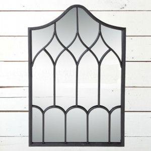 Arched Iron Windowpane Mirror