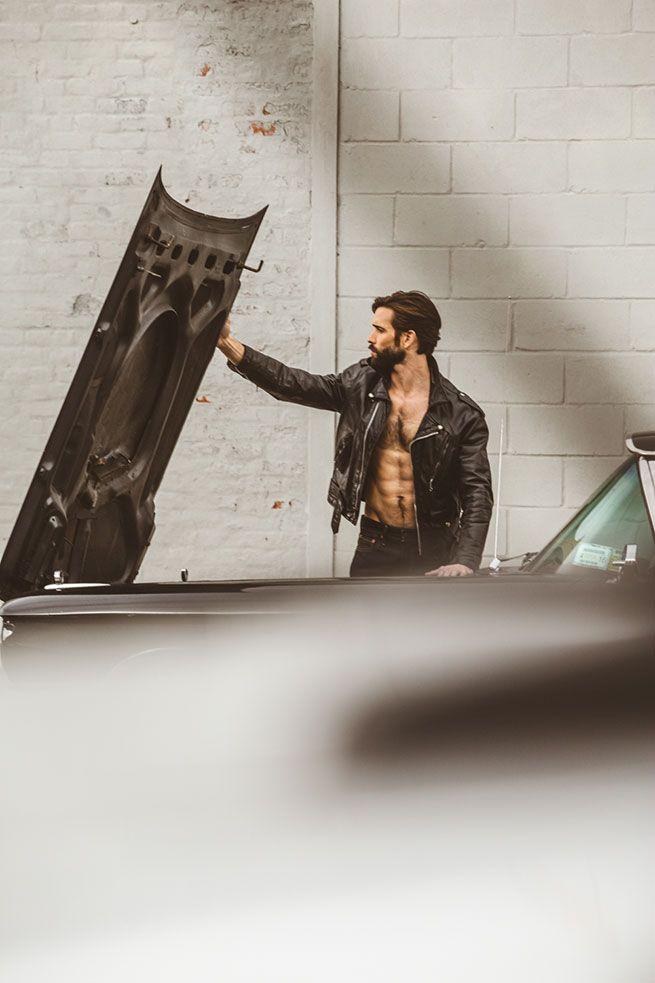 Gay.net - Bearded Model Levi Jackson Revs a 'Brooklyn Classic' Car