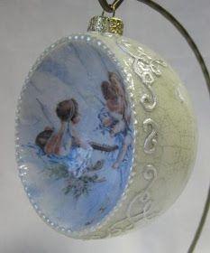 Galeria decoupage: bombka wklęsła 10cm aniołki