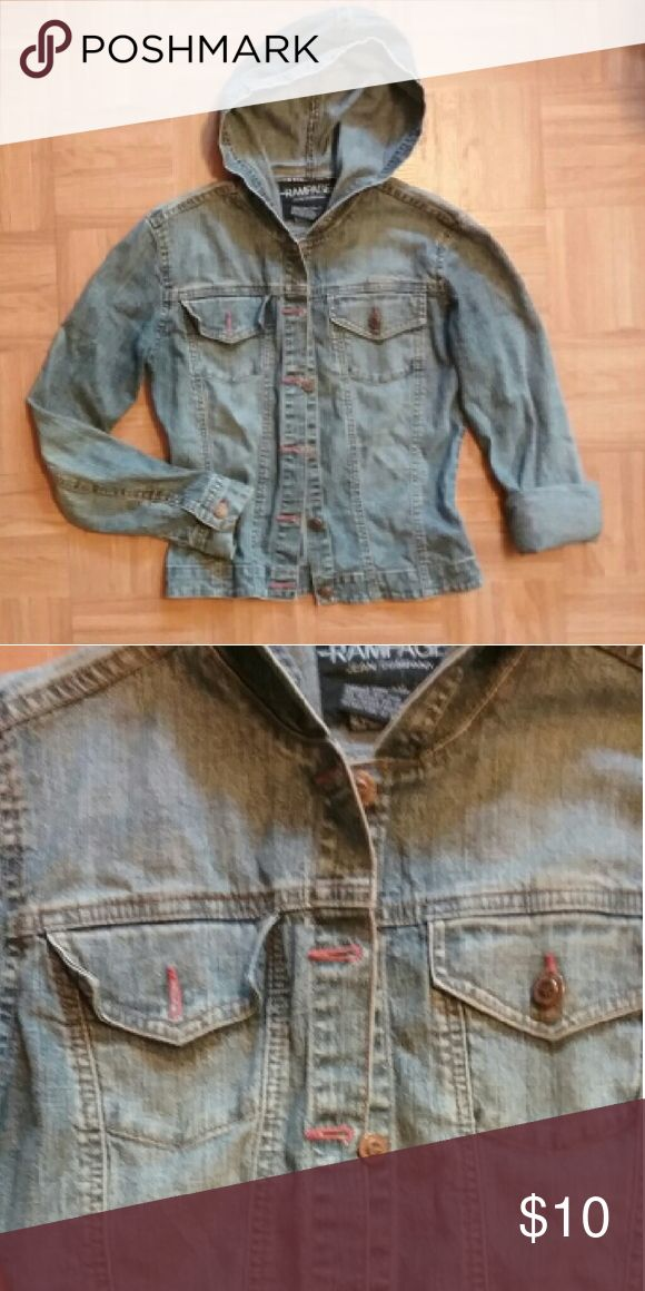 Hooded jeans jacket Hooded jeans jacket. Button on right pocket is missing Rampage Jackets & Coats Jean Jackets