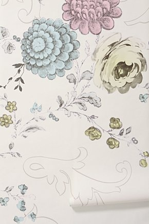 Blooming filigree mural walpaper anthropologie for the for Anthropologie wall mural