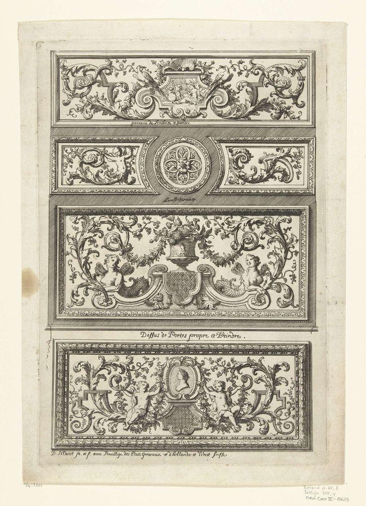 Daniël Marot (I) | Twee panelen voor houten lambrisering en twee bovendeurspanelen, Daniël Marot (I), 1712 | Het tweede paneel van boven heeft een variant voor de rechterhelft. Uit serie van 6 bladen.