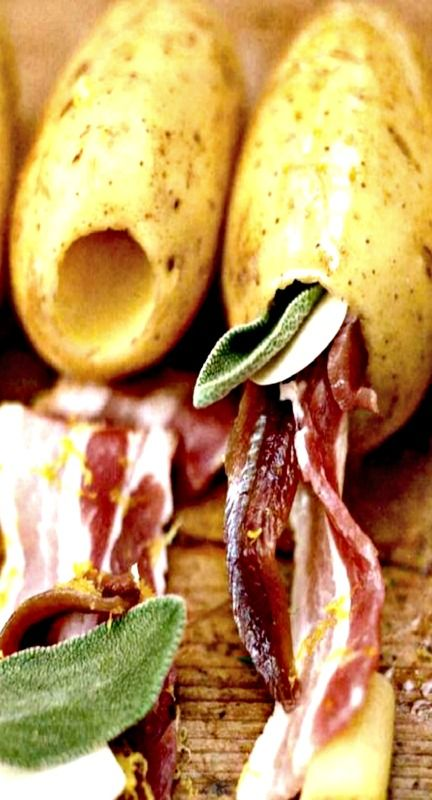 Potatoes Stuffed with Bacon and Sage - love, love, love this idea!  Hollow out a baking potato with an apple corer and fill it with bacon and sage. I can think of lots of other stuffing combinations such as ham and cheese with broccoli. Adapted from a recipe from Jamie Oliver.