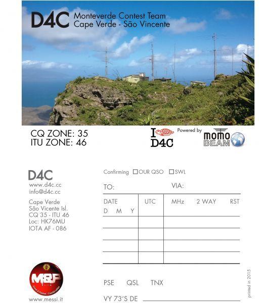 D4C from Sao Vicente Island (IOTA AF-086) Cabo Verde.CQ WW DX SSB Contest 24-25 Oct 2015.SOSB Category.