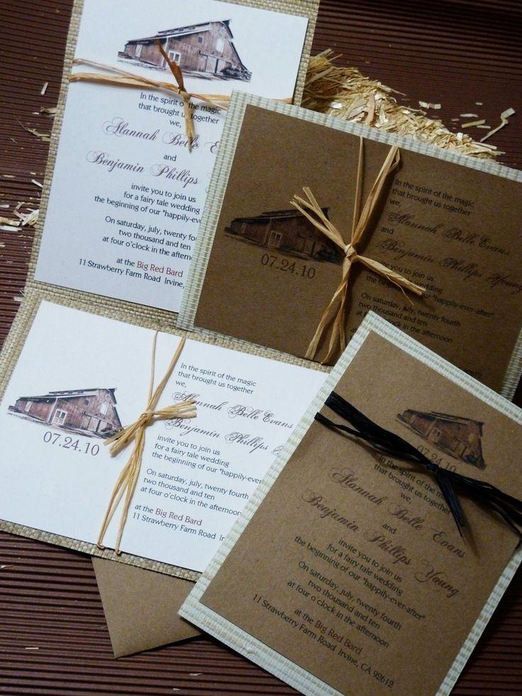 Rustic Red Barn Wedding Invitation Set. $5.50