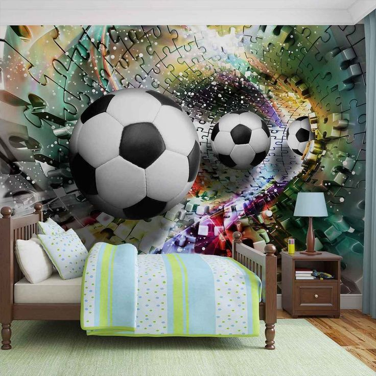 WALL MURAL PHOTO WALLPAPER XXL Colorful Puzzle Football (3381WS)