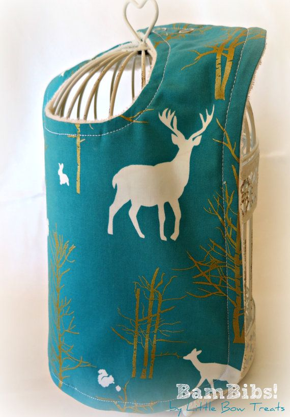 Bamboo Baby Infant Toddler Bib Teal Deer Stag Fox Metallic Gold Woodland Organic Super Soft Absorbent BamBib Children Feeding, Dribble