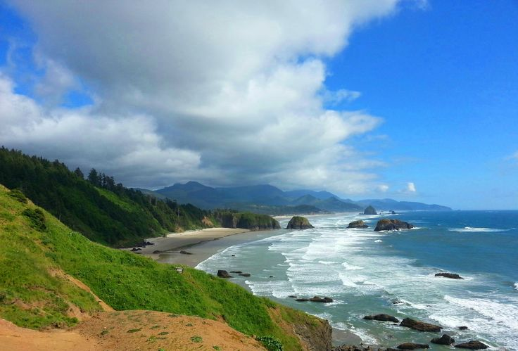 Haystack Rock in the distance. Oregon Coast, looking down on Canon Beach