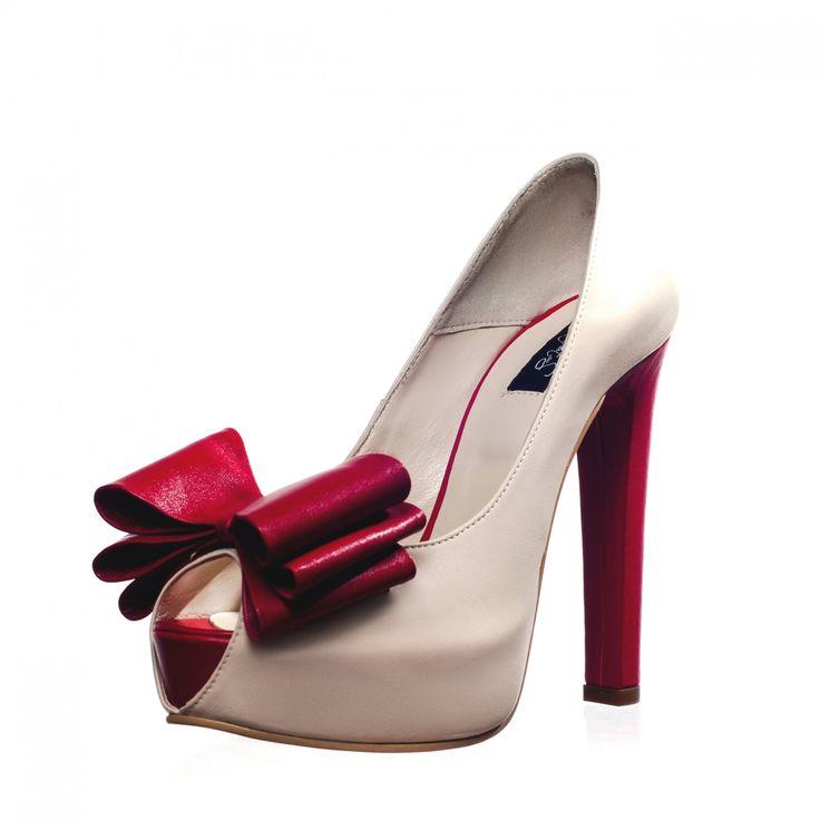 Ivory&Red Leather Peep-toe Platform Pumps - Peep-toes - Heels - Shoes