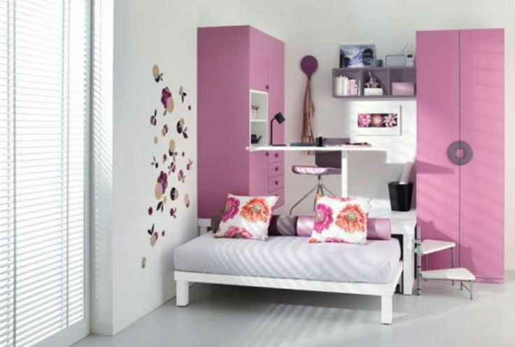 Teens Bedroom: Lovely Teenage Girls Room Design Inspirations, Stunning White and Wall Sticker Teenage Girls Bedroom with Pink Closet and Sma...
