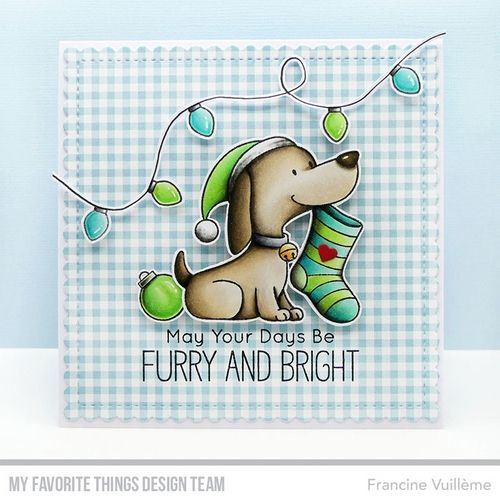 Happy Pawlidays stamp set and Die-namics, Stitched Mini Scallop Squares STAX Die-namics —Francine Vuilleme #mftstamps