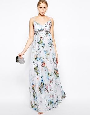 Image 4 of Little Mistress Maternity Soft Floral Print Cami Maxi. 870 kr