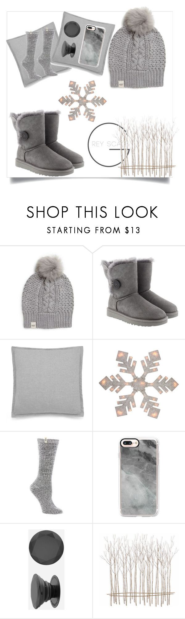 """Grey scale"" by mary2003 ❤ liked on Polyvore featuring UGG Australia, UGG, Northlight Homestore, Casetify, PopSockets and Fox"