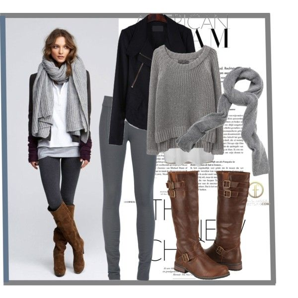 White tee, black jacket, grey scarf, skinnies, brown riding boots...nice and laid back